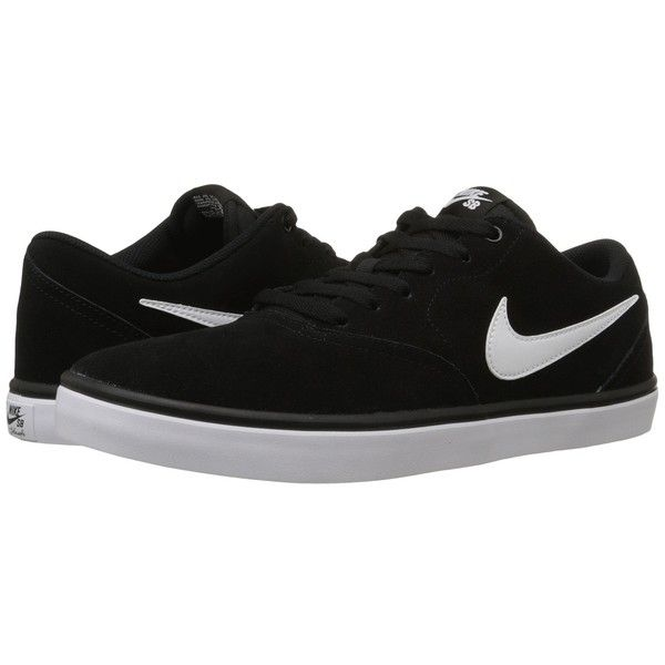 Nike SB Check Solar (Black/White) Men's Skate Shoes (93 AUD) ❤ liked on Polyvore featuring men's fashion, men's shoes, men's sneakers, mens shoes, mens sneakers, nike mens shoes, nike mens sneakers and mens skate shoes