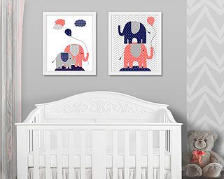 Set Of 2 Prints For Elephant Nursery In C Navy And Grey By Sweet Pea