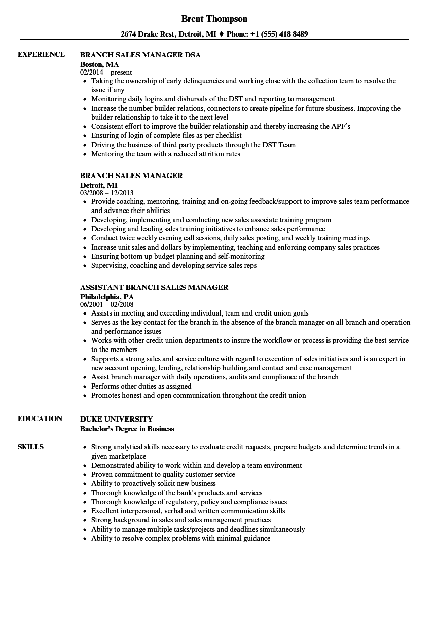 Branch Sales Manager Resume Samples Manager Resume Resume Examples Data Science