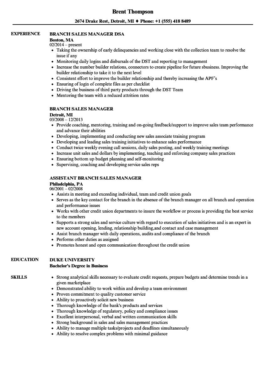Branch Sales Manager Resume Samples Manager resume