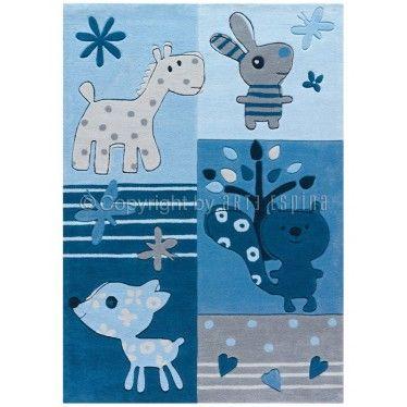 tapis bleu pour chambre d\'enfant   Tapis chambre bébé, Tapis ...