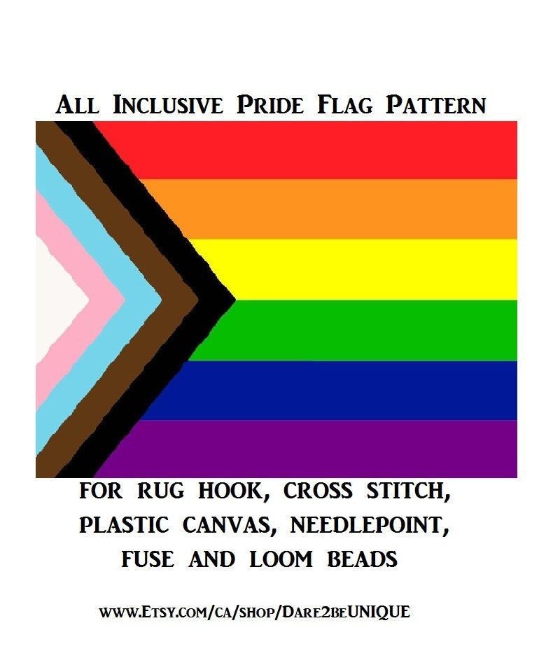 All Inclusive Pride Flag Tapestry Pattern Cross Stitch Plastic Canvas Rug Hooking Patterns Perler Designs Rainbow Pride Art Digital Pdf Rug Hooking Patterns Pride Flags Cross Stitch