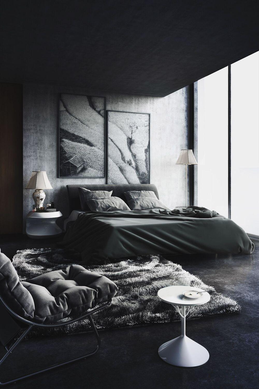 chambre design et lgante avec un sol noir et des murs gris noir black dcoration interiordesign