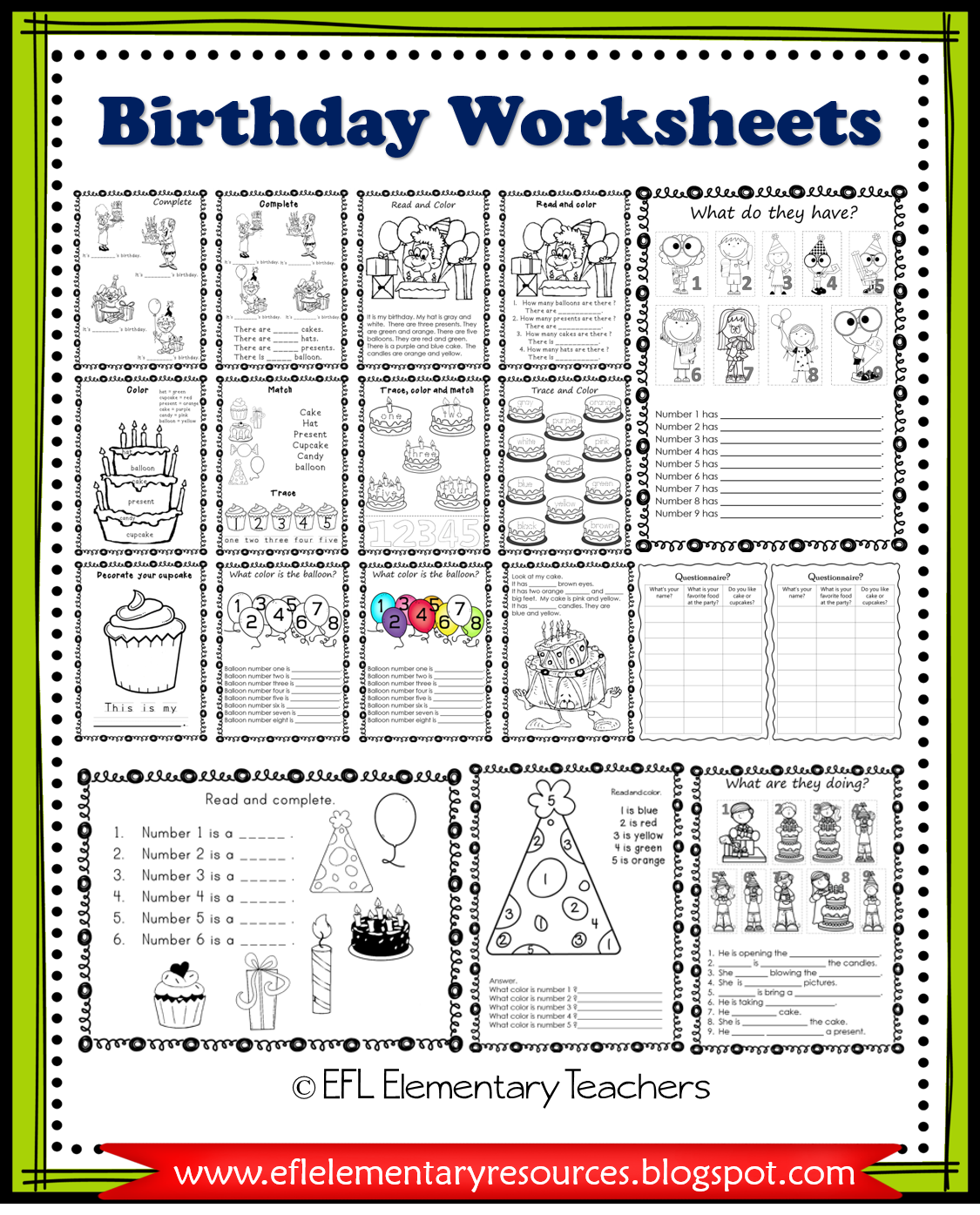 Esl Birthday Unit Printable Worksheets In