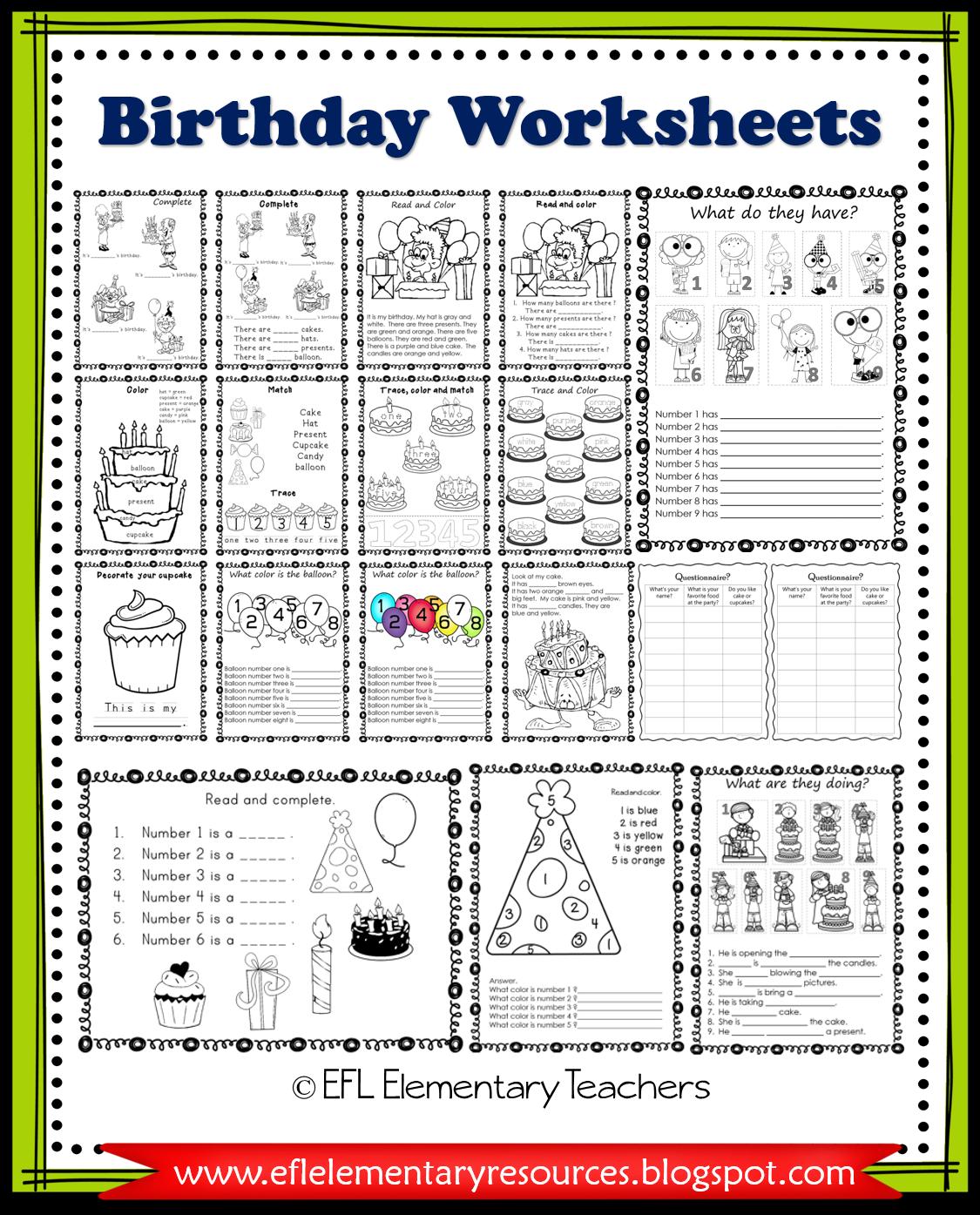 Esl Birthday Unit Printable Worksheets In