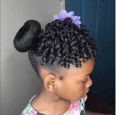 Sock Bun Defined Twistout With Rollers Natural Kid Hairstyles - Bun hairstyle definition