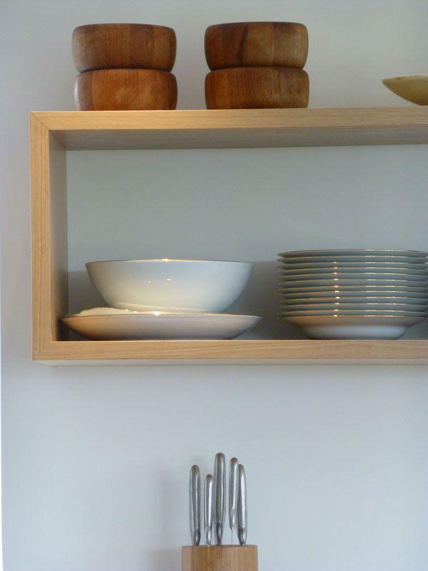 bespoke oak shelving on concealed fixings | Kitchen box ...