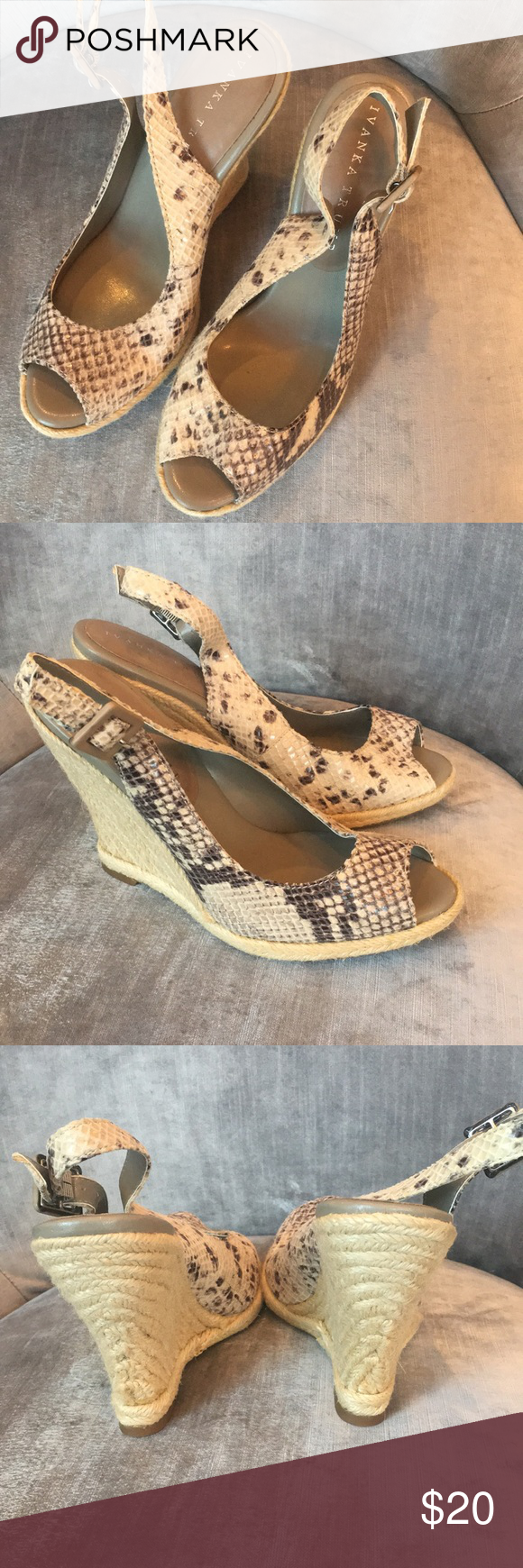 d288a13af IVANKA TRUMP Peep Toe Wedge Faux Snakeskin IVANKA TRUMP Women's Size 7MPeep  Toe Wedge Pumps Faux Snake Skin Ivanka Trump Shoes Wedges