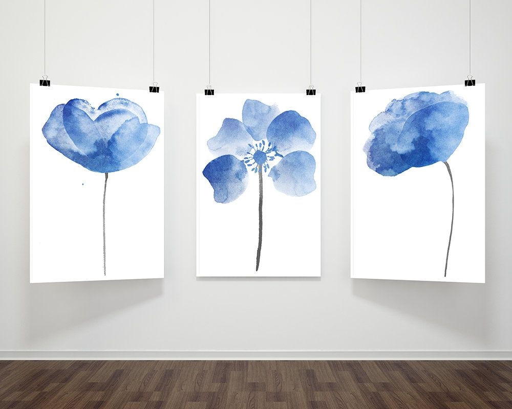 Abstract Flower Watercolor Art Modern Floral Illustration Living