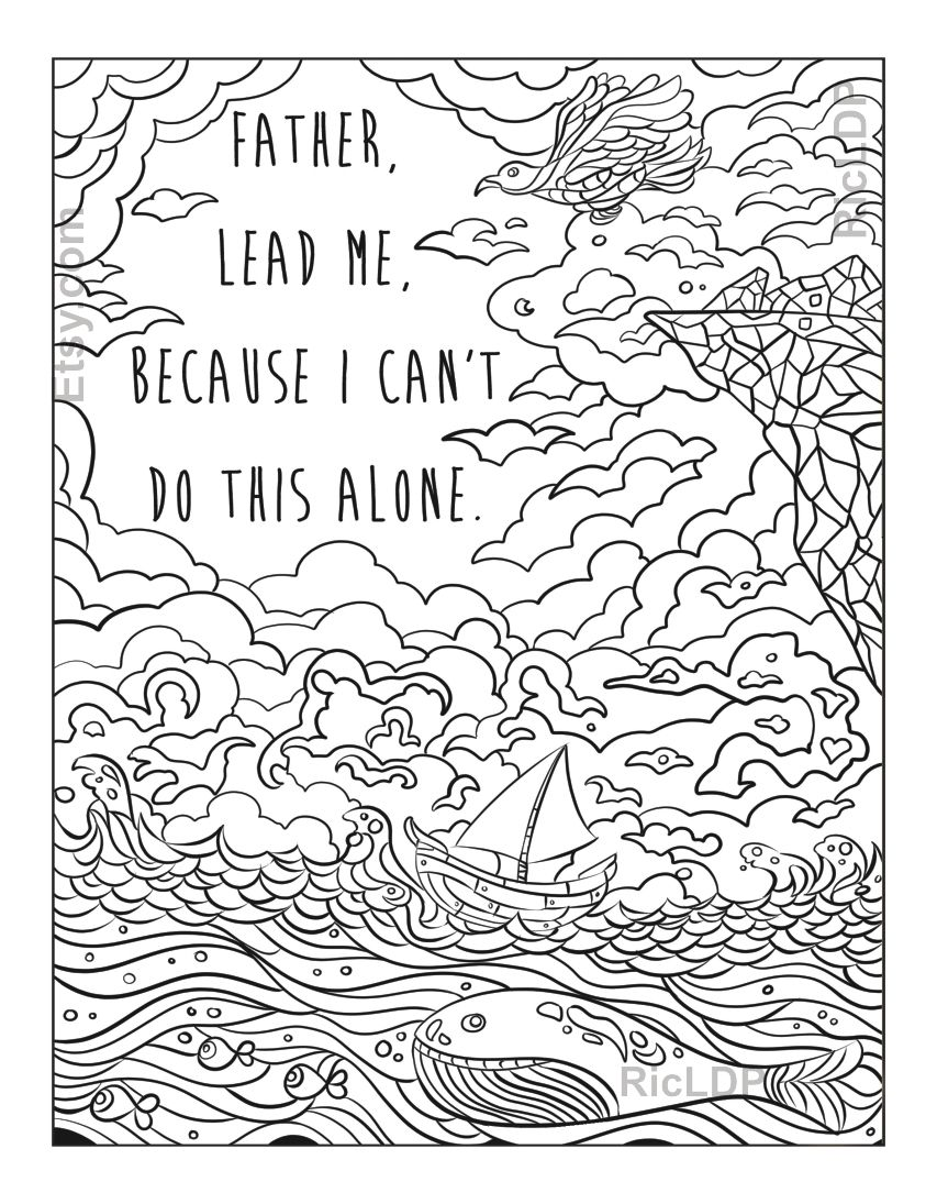 A Christian Coloring Doodle with Psalm 16 1 and a prayer