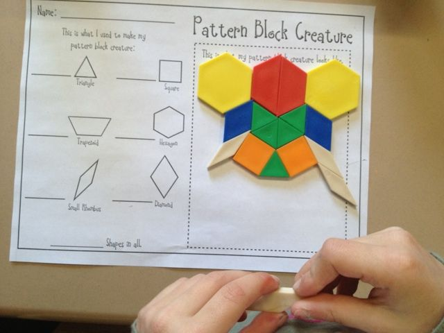 Pattern Block Creatures For Halloween, kids had block and white - pattern block template