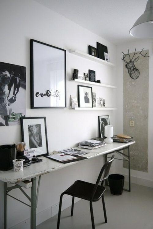 kunstgalerie mit bilderrahmen an der wand schwarz weiß ... - Wohnungseinrichtung Schwarz Wei