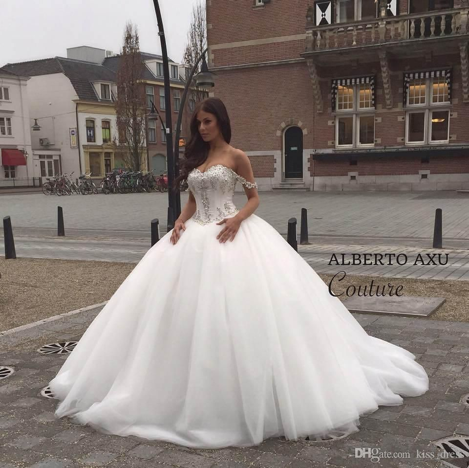 ea79bc1c46c White Ivory Custom New Princess Bridal Gowns Hot Sales Luxury Beaded  Crystal Off The Shoulder Ball Gown Tulle Wedding Dresses 2015 W1550 Long  Sleeve Wedding ...