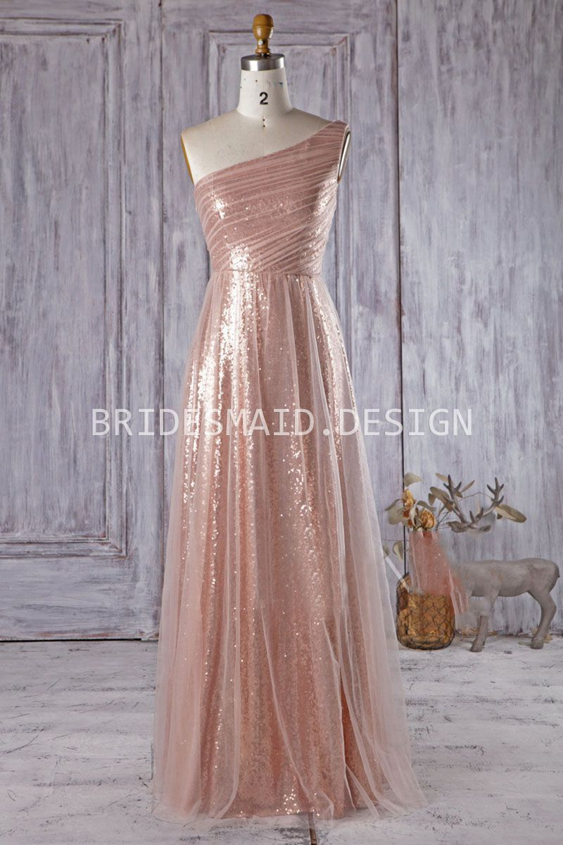 Tulle over pink gold sequins aline long modern chic bridesmaid
