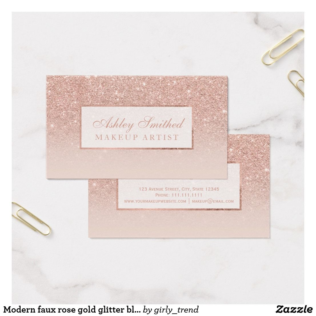 Modern faux rose gold glitter blush ombre makeup business card modern faux rose gold glitter blush ombre makeup business card reheart Image collections