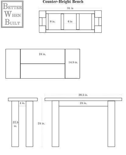 DIY Counter-Height Bench Counter height bench, Woodworking and Bench - fresh blueprint for building a bench