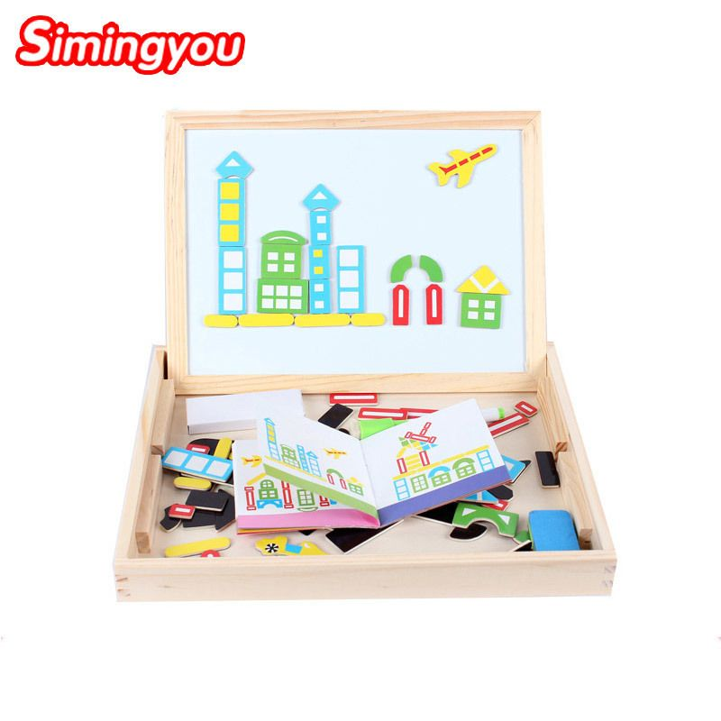 Wooden Multifunctional Educational Wooden Magnetic City Traffic Puzzle Toys  For Children Kids Jigsaw Drawing Board Set