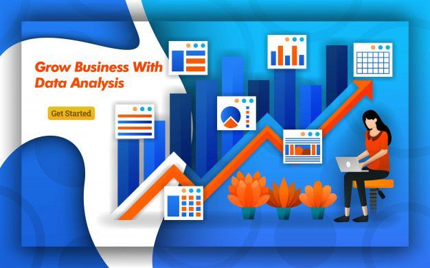 Arrows design of grow business with data analysis  Premium Vector