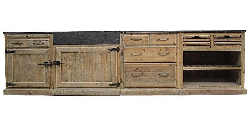 made in meubles  2558\u20ac Meuble cuisine en Bois recyclé Nouvelle