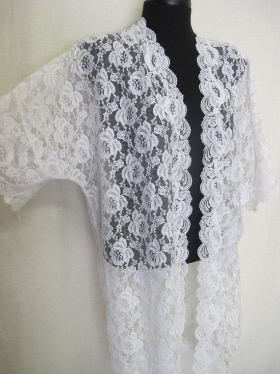 Lace Robe Chantilly Lace Bridal Robe Sheer Robe Lace Peignoir Brent Yelin for Iris