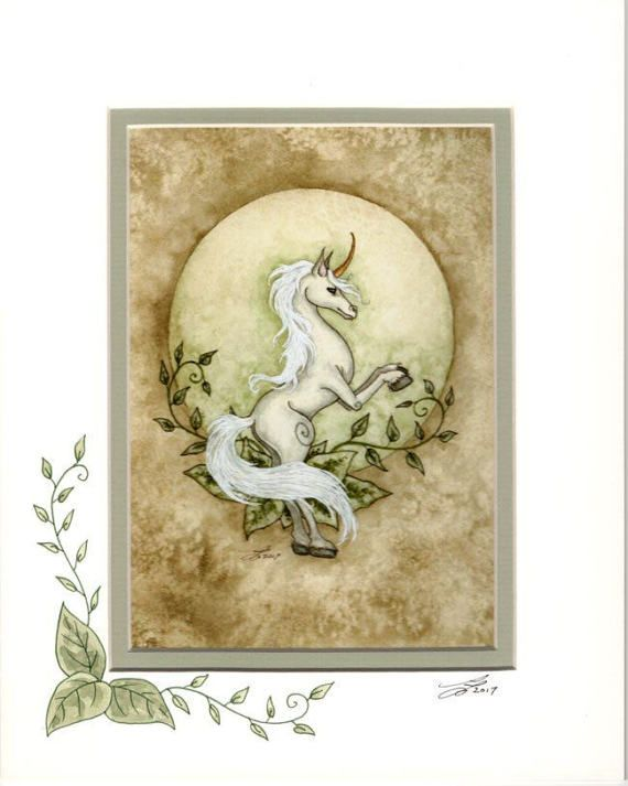 Hand Accented Unicorn Print 5x7 Matted 8x10 By Amy Brown Amy Brown Art Amy Brown Fairies Drawings