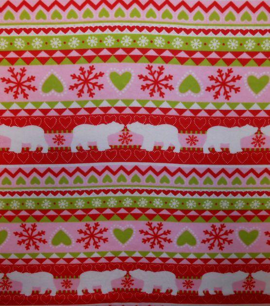 Christmas Flannel Fabric - Fair Isle Polar Bear - By the yard ...