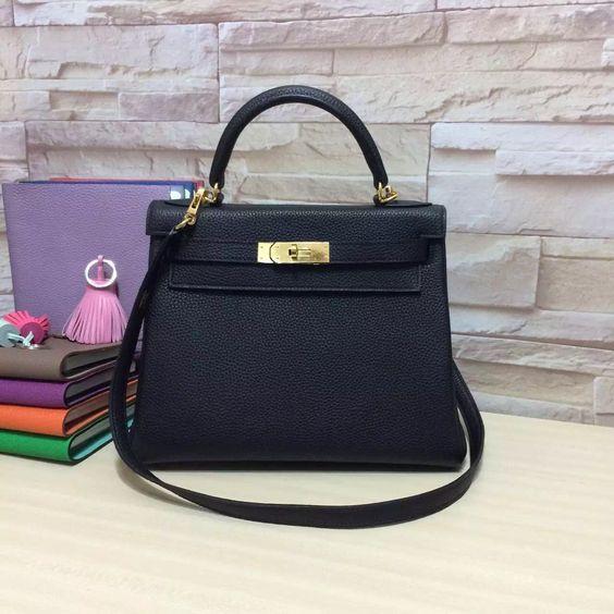fashion black togo kelly bags 25 28cm genuine leather handbags ... a8e0bd90b9045