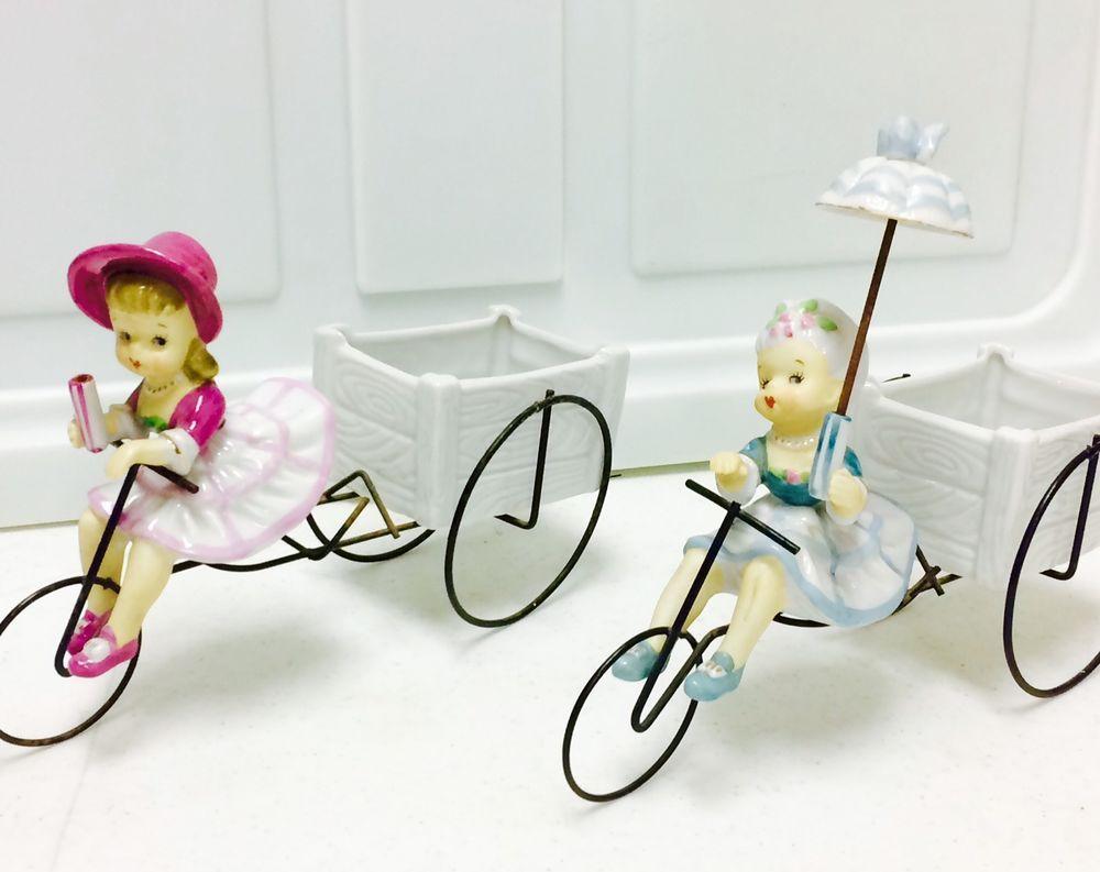 Vintage Porcelain Girl Figurine Umbrella Japan Ceramic UCAGCO Napco Pink Blue  | eBay