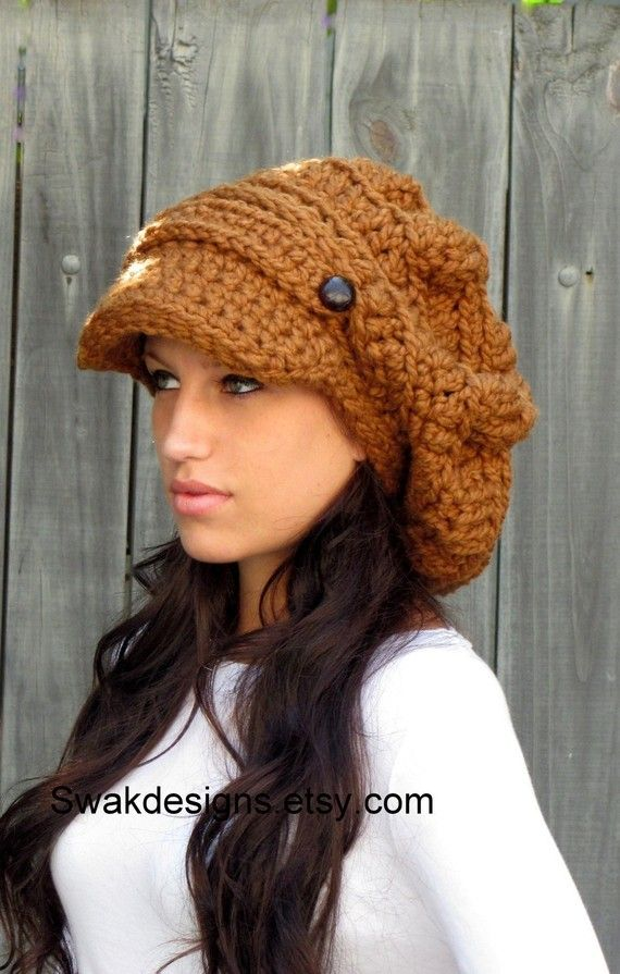 Slouchy Newsboy Hat Wool Cap Chunky Crochet Hat Two Button Band ...