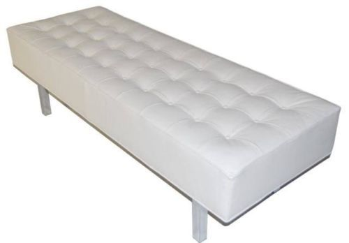 Contemporary Modern White Genuine Leather Tufted Bench Ottoman W Chrome Legs White Leather Ottoman Ottoman Bench Contemporary Bench