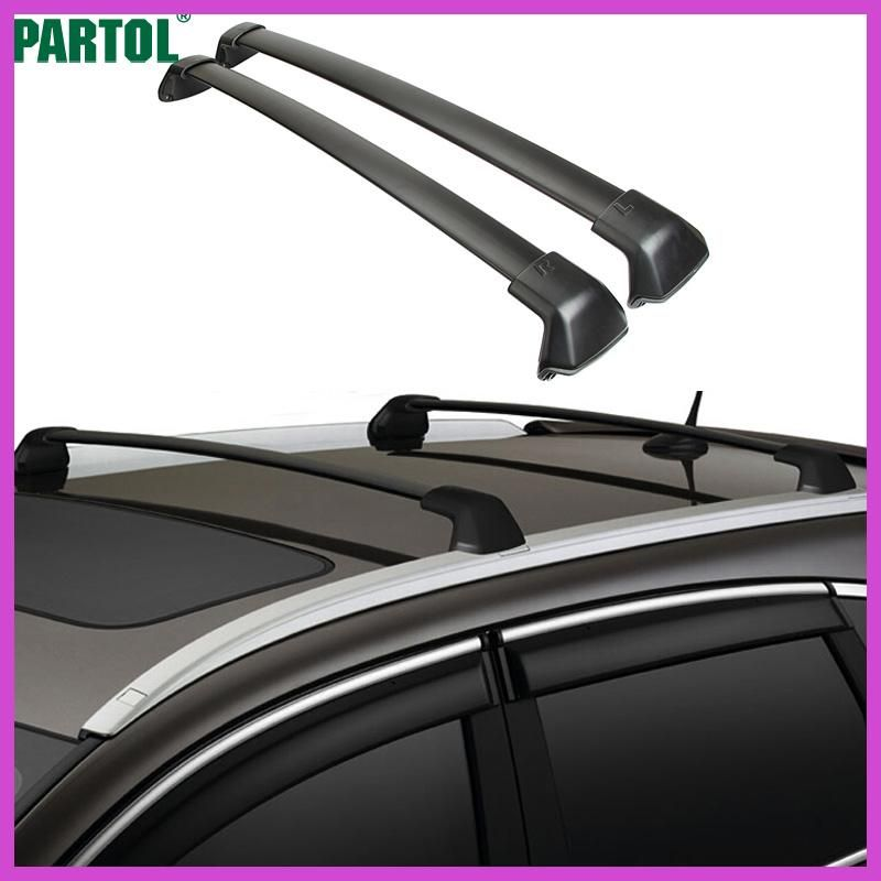 Partol 1 Pair Black Side Rails Car Roof Rack Cross Bars