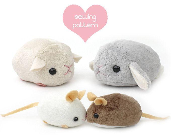 PDF sewing pattern - stuffed animal hamster mouse rat guinea pig ...