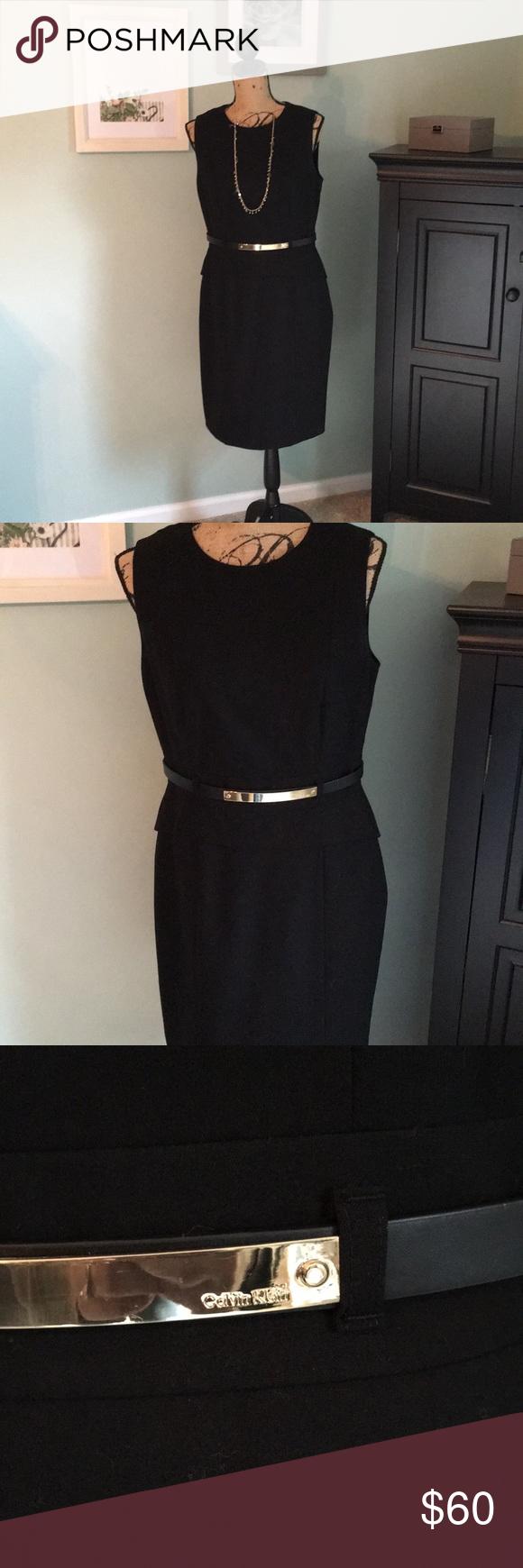 Black Calvin Klein Dress With Gold Accent Belt Black Calvin Klein Peplum Dress With Gold Accent Belt Size 10 Dry Cl Fashion Calvin Klein Dress Clothes Design [ 1740 x 580 Pixel ]
