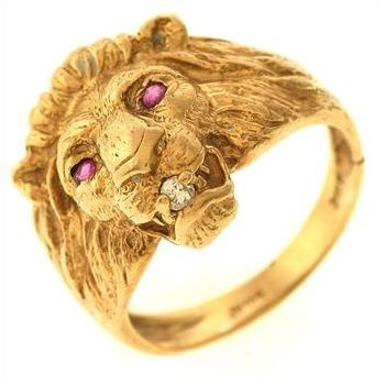 Pin By Jacey Hernandez On Men S Fashion Gold Lion Head Ring Real Diamond Rings