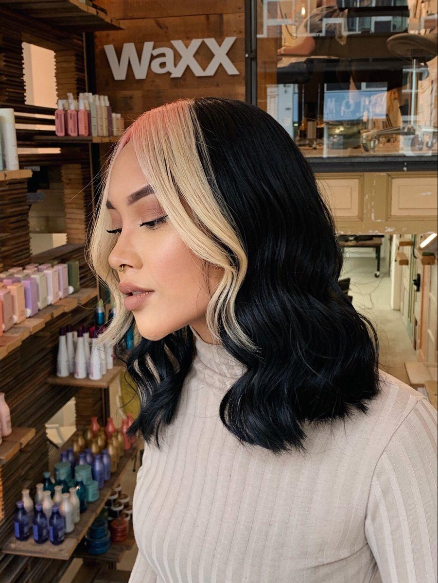 Colorblocking Contrast Hair 2020 Black Blonde Pastel Pink In 2020 Black Hair Blonde Streak Hair Streaks Girl Hair Colors