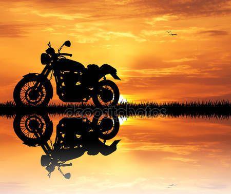 Baixar Motocicleta Ao Por Do Sol Imagem De Stock 48730351