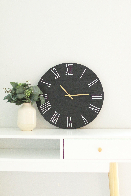 Small Wall Clock Black Clock Decor For Kitchen Modern Etsy In 2021 Small Wall Clock Clock Decor Wall Clock