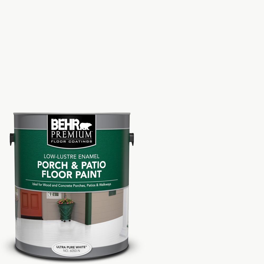 Behr Premium 1 Gal Ultra Pure White Low Lustre Enamel Interior Exterior Porch And Patio Floor Paint 605001 Painted Floors Patio Flooring Porch Patio