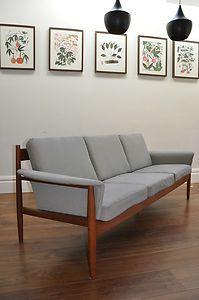 teak danish sofa made by france son attributed to grete jalk vintage 60s ebay products. Black Bedroom Furniture Sets. Home Design Ideas