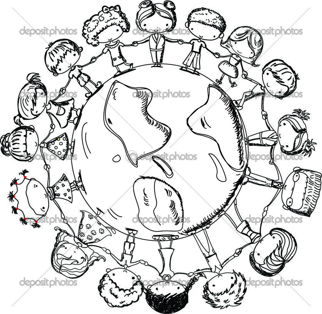 Free coloring pages of children around the world  Love coloring