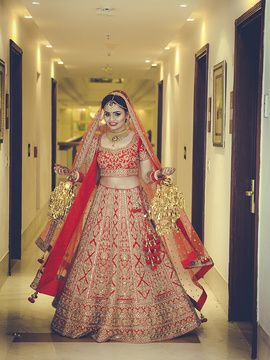 Bridal Lehengas Red And Gold Lehenga With Latkans Kaleere Wedmegood Indianbride Indianwedding