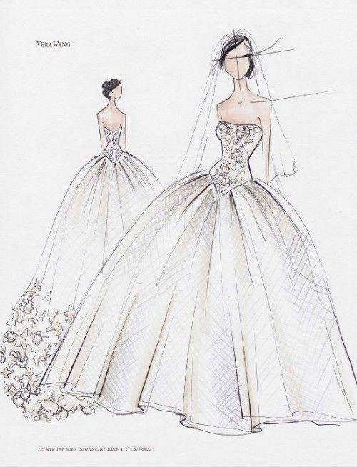 vestido de novia en boceto con corte princesa y detalles en corpiño