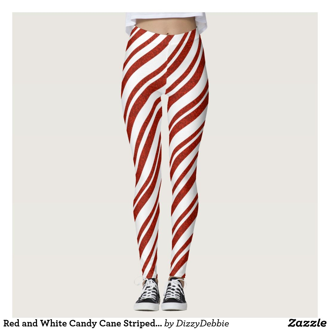 d332b47c5cde9 Red and White Candy Cane Striped Leggings   Zazzle.com   Women's ...