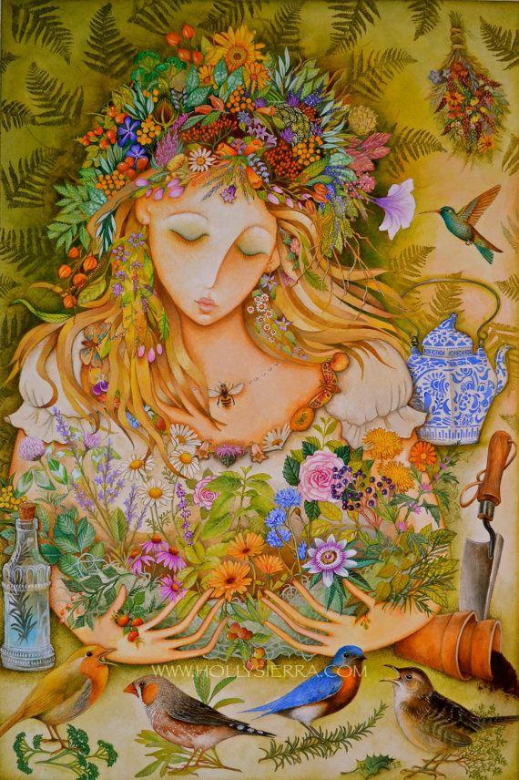"""21 de março - Em nosso hemisfério celebra-se Mabon, o sabbath que homenageia o equinócio de Outono. Mabon é o festival de colheita dos frutos e recebeu este nome em homenagem ao Deus gaulês Mabon.  Autumn Equinox:  #Autumn #Equinox ~ """"The Harvest Goddess, Mistress of Mabon,"""" by Holly Sierra Art."""