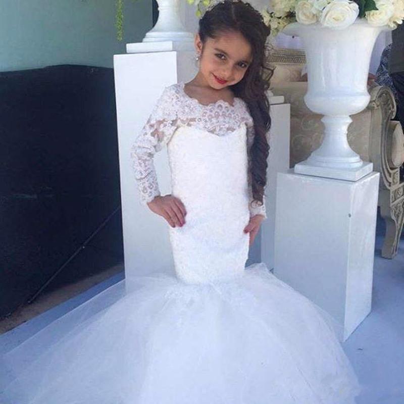 O Neck Long Sleeve Floor Length Mermaid Flower Girl Dresses Children