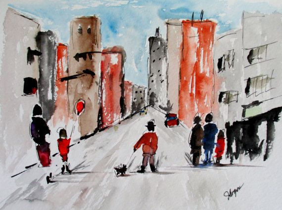 """Original Watercolor Painting- """"Waiting for the Bus"""""""