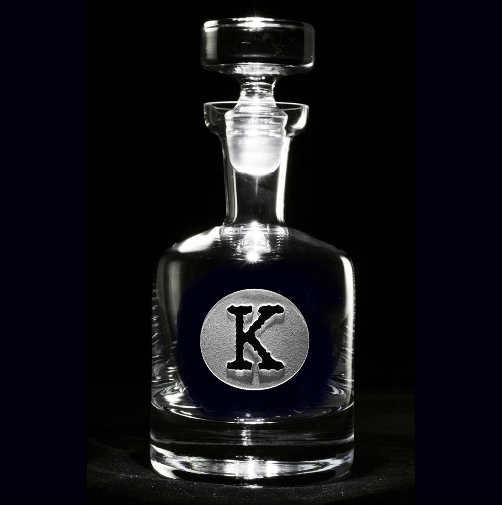 Typewriter Font Engraved Whiskey Scotch Decanter, Custom Barware Gifts At  Crystal Imagery.
