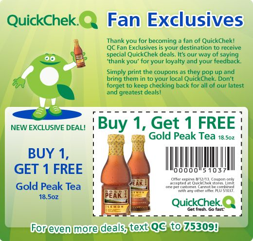 FACEBOOK COUPON $$ Reminder: BOGO FREE Gold Peak Tea from QuickChek – Expires TODAY (8/12)!