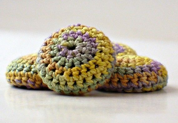 Covered #Button #Crochet Sage Purple Yellow Peach from @nothingbustring $9