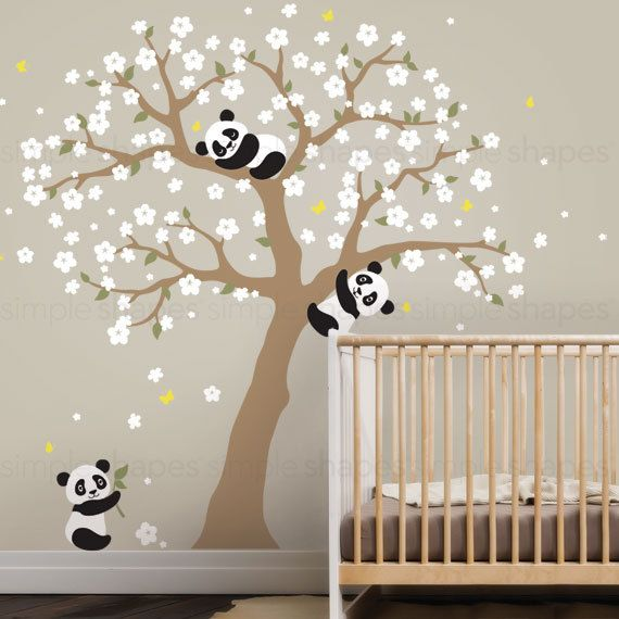 Panda and Cherry Blossom Tree Wall Decal, Panda Wall Decal ...